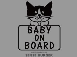 BABY ON BOARD ステッカー シール デカール 子供 ネコ 猫 黒猫 子猫 赤ちゃん乗車中 BABY IN CAR カッティングシート 車に貼れる 黒 ブラック【sti06211blk】