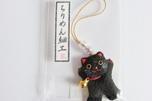 チリメンのバンザイ猫くんミニ根付 鈴付