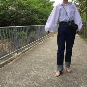 バルーンスリーブシャツ:ホワイト