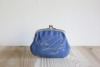 夏に向けて持ちたい!友禅染で「うかい」が描かれた、親子がま口のお財布