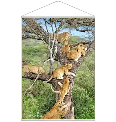B1 タペストリー 木に登るライオン