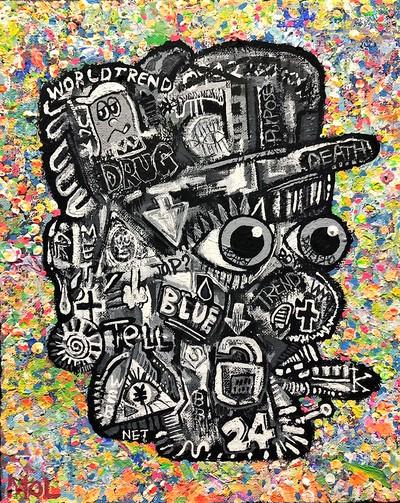 【大相撲】大栄翔 優勝記念 現代アート、漆黒の顔にカラフルなバック。ファンに愛でていただきたい!