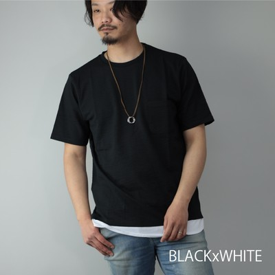 SKKONE 半袖Tシャツ メンズ シアサッカー ネックレス付き クルーネック ポケット フェイクレ