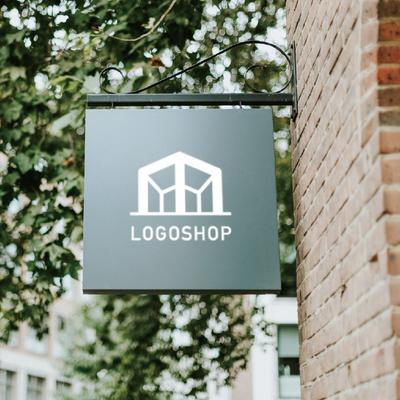 アルファベットと建物を組み合わせたロゴデザイン。 2000点のロゴ販売・作成サイト「ロゴショップ」