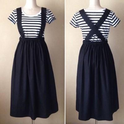ウエストゴムのジャンパースカート(黒/グレー)