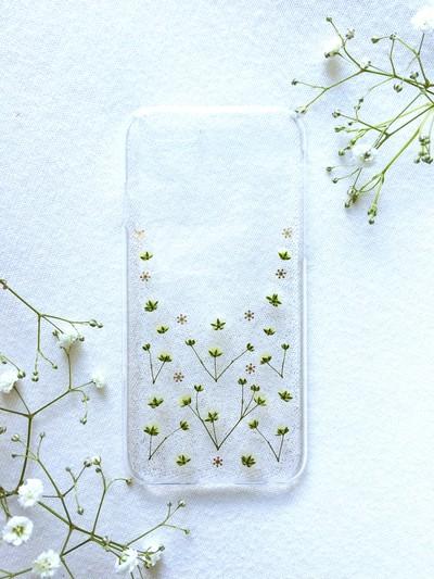 冬にピッタリ♪ iPhoneケース かすみ草ラメ Winter