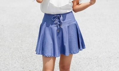 スカートに見えて実はパンツ♡レースアップフレアスカパン