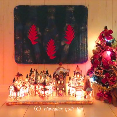 ハワイアンキルトキット ヘリコニアのタペストリー クリスマスだけじゃもったいないシリーズ4