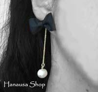 hanausa shop 新作!リボンとパールのシンプルピアス