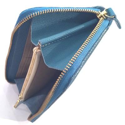 スモーキーなライトブルーは空の色、ドイツ高級カーフの定番ロングウォレット