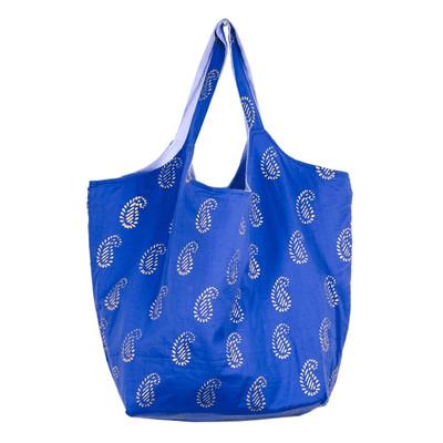 上品な大きめバッグでイベント事もお買い物もスマートに!底板付きでコンパクトなブロックプリントバッグ。