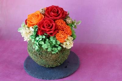 プリザーブドフラワーのお正月花飾り