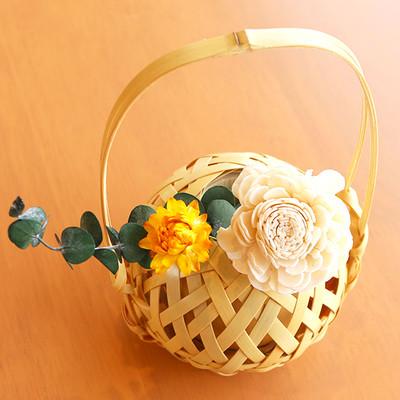 母の日の贈り物に!可愛い手毬1輪挿し  伝統工芸士が作成した本物の竹細工芸品