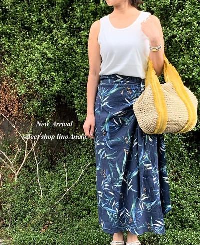 Eimee Law & WASH LHELBIE サイドリボンリーフプリントラップスカート