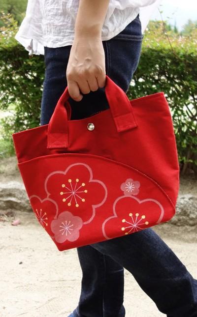 普段使いにおススメ 京の彩を感じる手描き柄帆布バッグ