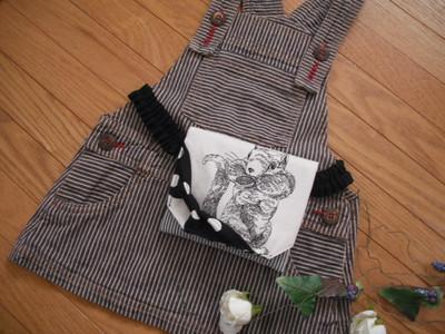 食欲の秋、食いしん坊りすちゃんの移動ポケット、ゴムタイプを作りました!