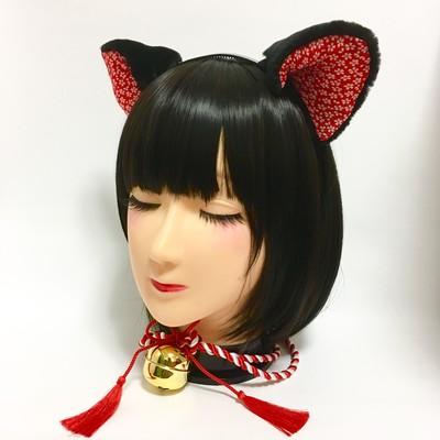 新年の撮影に、パーティーに。和柄で可愛い猫耳はいかがですか?