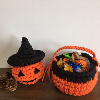 Tシャツヤーンで編むハロウィン小物でHappy Halloween!