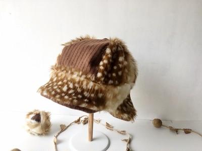 イヤマフにもなる…✝バンビ柄のファー帽子✝