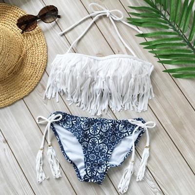 【白を効かせた大人セレブリゾート】海に映える真っ白フリンジが揺れるビキニセット!