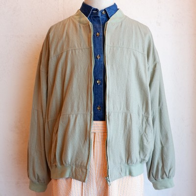 USA古着 light green silk blouson