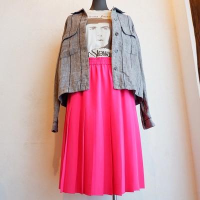 USA古着 vivid pink silk skirt