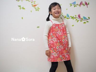 女の子に人気です♪子供らしい子供服、花柄フランネルのキャミソールワンピース