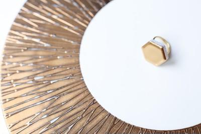 【限定3本!】本物の金を使用!伝統文化品美濃焼多治見六角タイル指輪・24金使用リング(フリーサイズ)