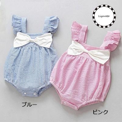 夏のおでかけベビー服♫ リボンがキュートなおしゃれロンパース。