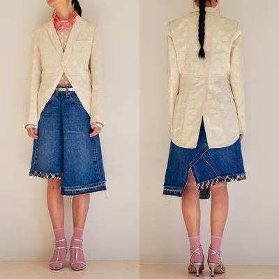 実験的なデザインに挑戦!アシンメトリーなデニムスカートの完成です。