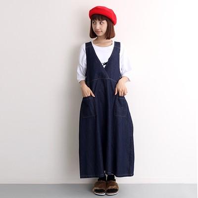 デニムの肌触り抜群☆大人女子でも着れるデニムジャンパースカート☆