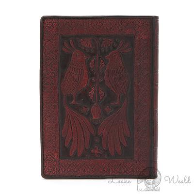 アンティークの洋書風、向かい合う鳥の本革製のブックカバー