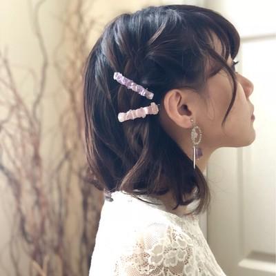 ショートヘアーでも抜群可愛い。天然石の褒められヘアアクセサリー♡