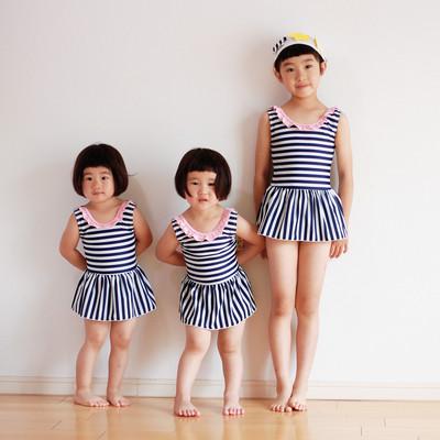 やっぱりボーダーが好き!姉妹でお揃いならもっと嬉しい!姉妹で着られるボーダー水着を作りました!