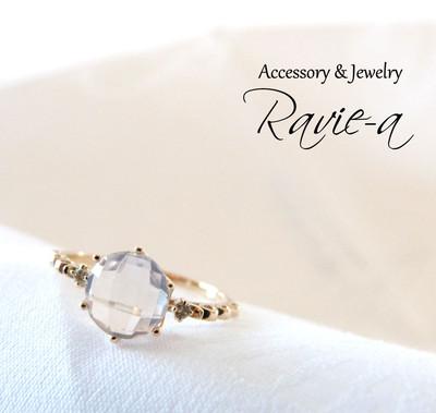 ローズクォーツ×2石のダイヤモンド!クラウンアラベスクデザインの上品K10リング