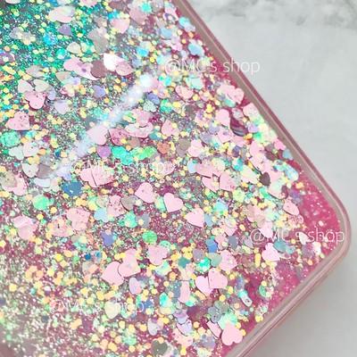 お得な訳アリ商品★ピンクのハートとキラキラが流れ動く☆グリッターiPhoneケースです