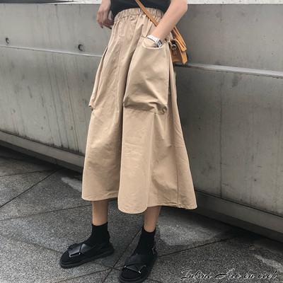 大きなサイドポケットが特徴の☆ウエストゆったりスカート