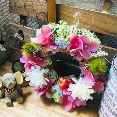 お家をカラフルに!花畑リース*色とりどりの花が素敵な花畑リース