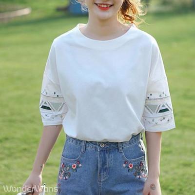 夏おすすめ☆ ナチュラルカラーの刺繍がアクセントになったゆったりTシャツ