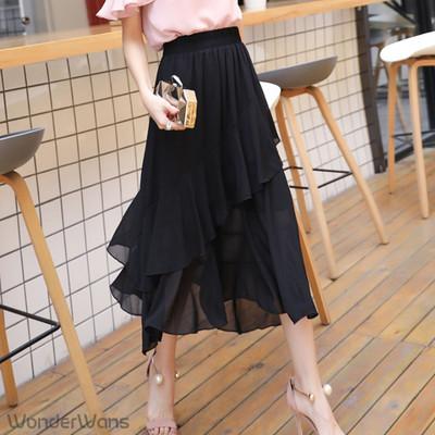 女性らしいフリルデザイン♡ シフォン素材のミモレ丈スカート