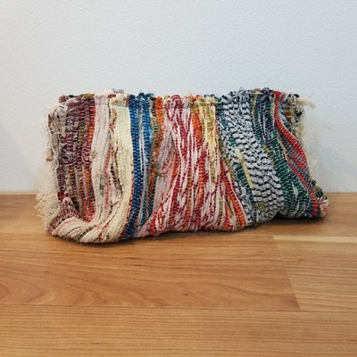 <エスニック>裂き編みのクラッチバッグ