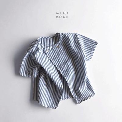子供達の夏に大活躍!! 1パターンの着こなしで終わらない minirobe コットンストライプシャツ