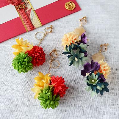 着物に合わせるお花の耳飾り♡イヤリング・ピアス