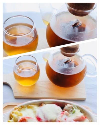 冷たい水出しほうじ茶とペンネグラタンでランチ♪♪