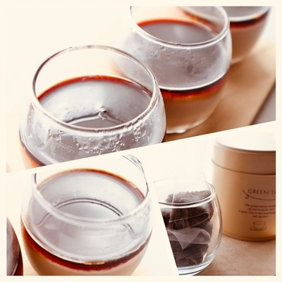 ほうじ茶でブランマンジェ。黒蜜をトッピングして絶品のスィーツに♪♪