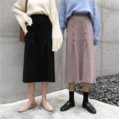 ニットであったかい☆女性らしいシルエットのロングスカート!
