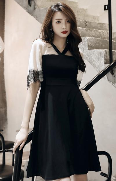 【NEW】シースルーが可愛い♡ブラックパーティードレス