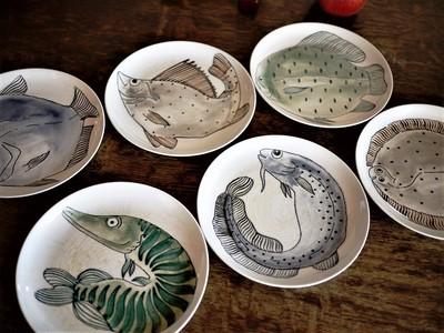 北欧フィンランド ARABIAアラビア KALAカラ 魚柄 プレート 6種類 19㎝