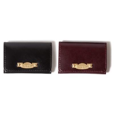 DRESS HIPPY/LEATHER CARD CASE  (BLACK / WINE)