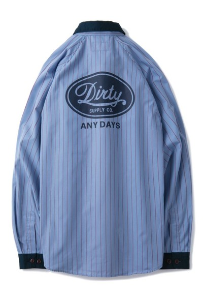 "AT-DIRTY(アットダーティー)/""MECHANIC L/S SHIRT"" (BLUE)"